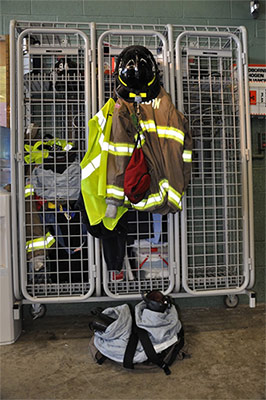Firefighter coat in locker